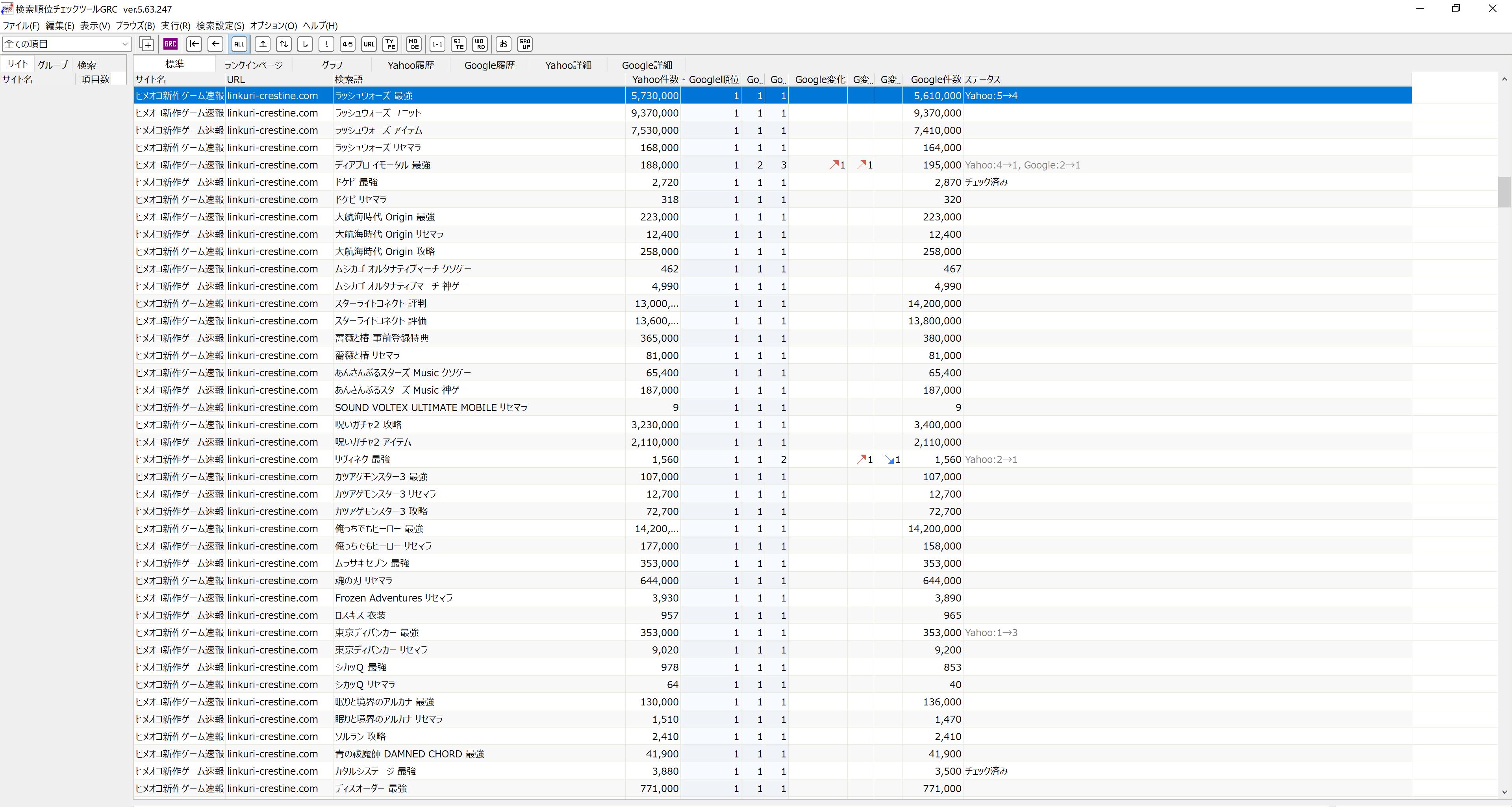 検索順位チェックツールGRC画面4